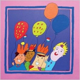 Feels Good Art: Feest (ballonnen, vlaggetjes en oranje kroontjes)   Muller wenskaarten