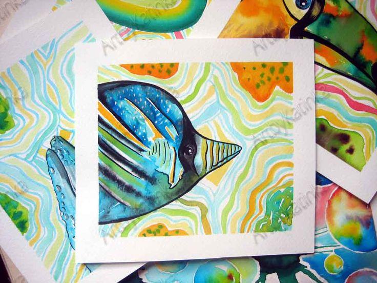 Fish painting,Original Watercolor Painting,Animal Art,Children room art,Handmade painting,Birhday gift,Wall Art,Home Decor,Painting gift by ARTbyKatinka on Etsy