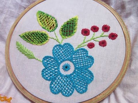 Hand Embroidery Stitches | Checker net stitch | Stitch and Flower-72 - YouTube