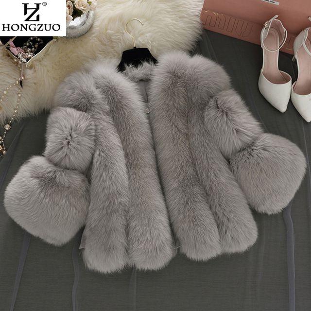 [HONGZUO] бренд Короткая Шерсть Пальто Зимняя Мода Женщины Искусственного Меха Лисы пальто Пушистый Женщина Искусственного Меха Куртка Плюс Размер Шуба PC237