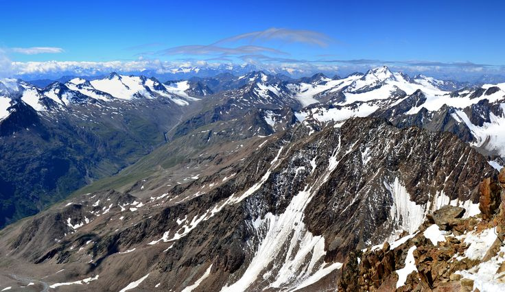 Panorama from top of Wildspitze in Austrian Alps. by hajnystudio on 500px