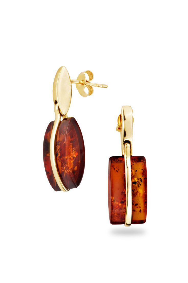 House Of Amber Gold Earrings With