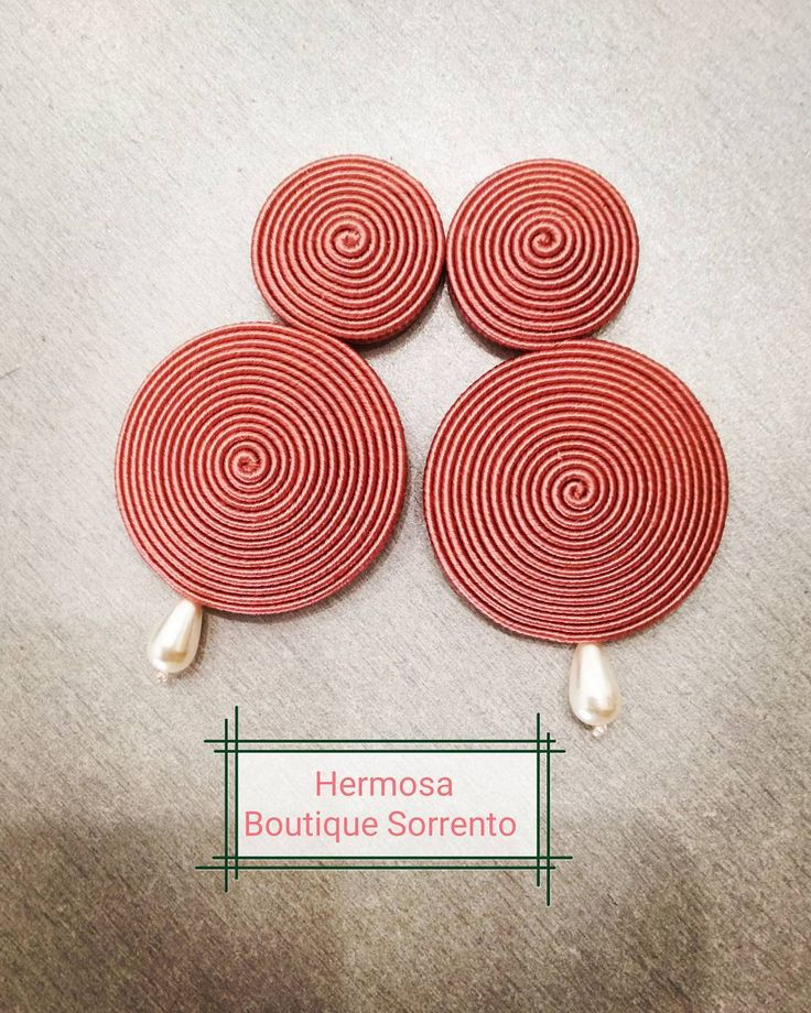 Cerchi rosa antico con perla a goccia #soutache #errings #ilovemyjob  #perle #bonton #beautiful #fantastic #HermosaBoutiqueSorrento #handmade