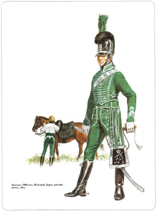 Nassau-Officier Reitende Jager, parade dress 1807