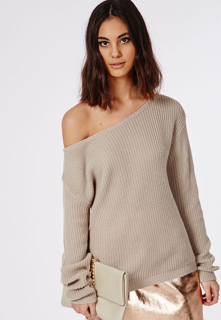 Missguided - Ophelita Off Shoulder Knitted Jumper Light Stone