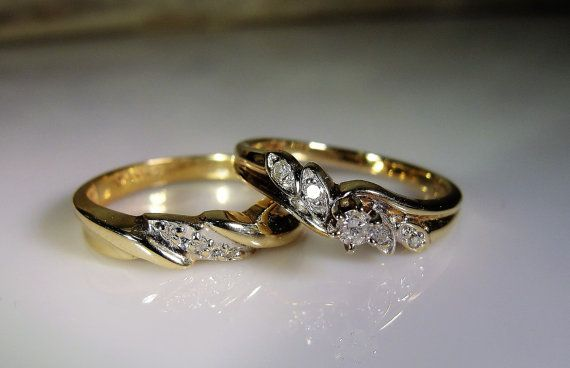 1940s bruids Ring Set 10K gouden bruids door CarolsVintageJewelry