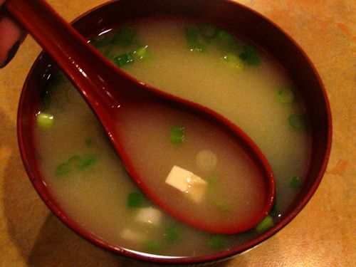 Traditional Japanese soup called Miso soup.