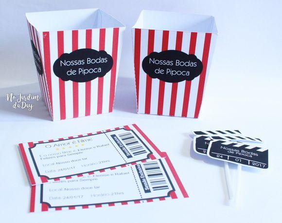 Kit Cine Pipoca    O kit contém    - 2 caixas para pipoca personalizadas  - 2 ingressos personalizados  - 2 toppers relacionados ao tema