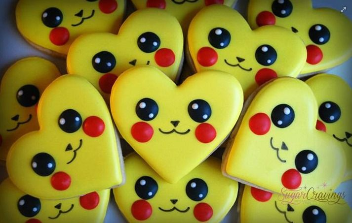 Pikachu Pokemon Valentine cookies by Sugar Cravings