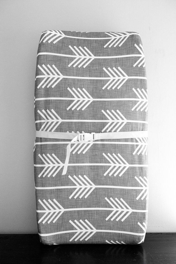 Little Woolf Contour Changing Pad Cover in Gray &Light Gray Arrow, Woodland Nursery, Tribal, Gender Neutral, Boy, Girl, Boho, Organic, Cover...