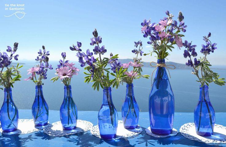 #blueandpurple DIY Santorini Wedding  See the full post here:http://tietheknotsantorini.com/blog/diy-santorini-wedding-decor-blue-purple
