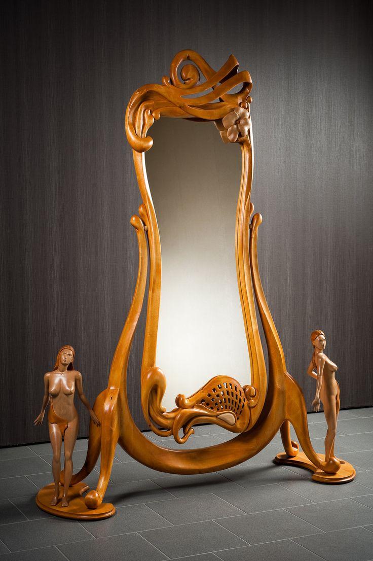 Art Nouveau Espejo de pie