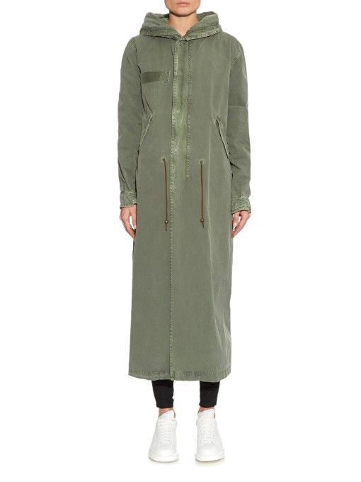 Mr & Mrs Italy Fur-trimmed canvas long-length parka