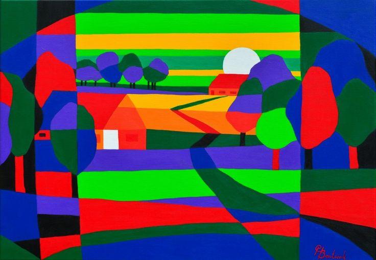 Dit is een: Acrylverf en spuitbus, titel: 'Kleurrijk landschap' kunstwerk vervaardigd door: Casper Bentsink