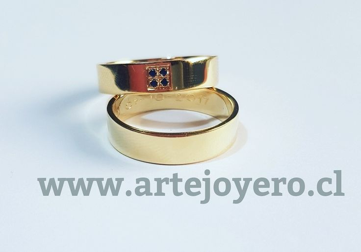 Argollas oro 18 k , 12 gr 5 mm , 4 zafiros +56977900432 www.artejoyero.cl