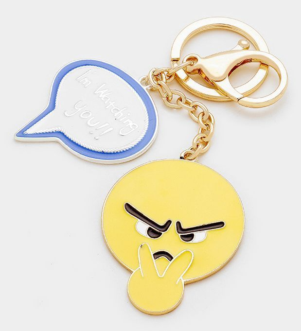 Reversible Selfie Emoji & Message Bubble (I'm Watching You!) Keychain #Unbranded