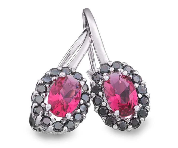 Ohrhänger aus Sterling Silber mit Zirkonia Kristallen / Sterling silver drop earrings with cubic zirconia in pink and black color