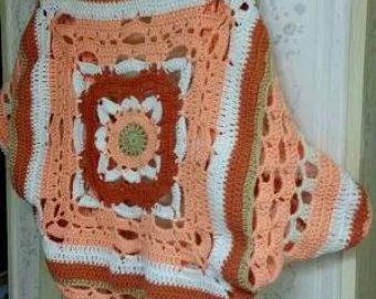 Vintage años 70 abuela Plaza suéter de punto por LotusvintageNY
