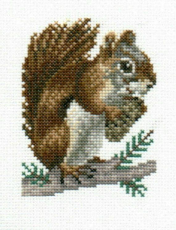 Red Squirrel counted crossstitch chart by 5PrickedFinger5 on Etsy