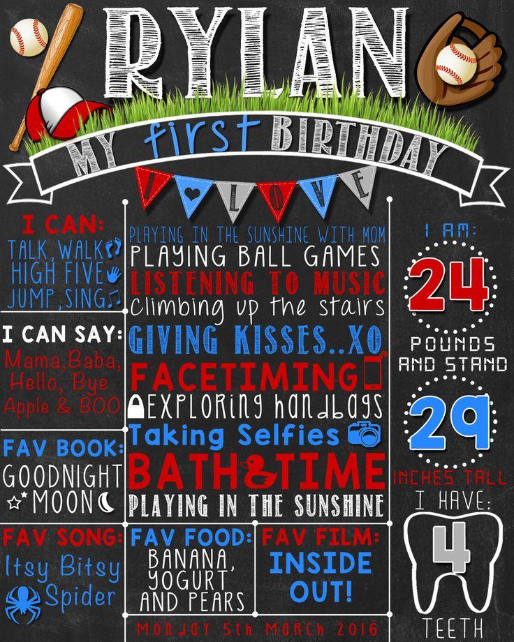 Baseball First Birthday Chalkboard Poster    Boy 1st Birthday Chalk Board   Baseball Theme    DIGITAL FILE - PRINTABLE by LetsChalkMemories on Etsy https://www.etsy.com/listing/269878082/baseball-first-birthday-chalkboard