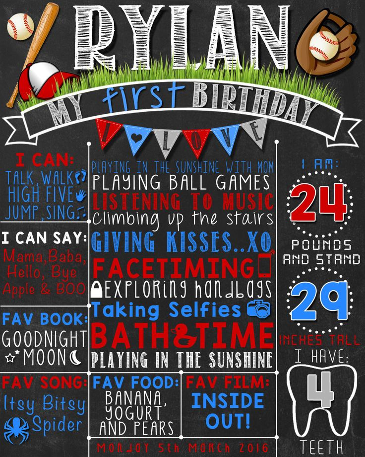Baseball First Birthday Chalkboard Poster  | Boy 1st Birthday Chalk Board | Baseball Theme  | DIGITAL FILE - PRINTABLE by LetsChalkMemories on Etsy https://www.etsy.com/listing/269878082/baseball-first-birthday-chalkboard