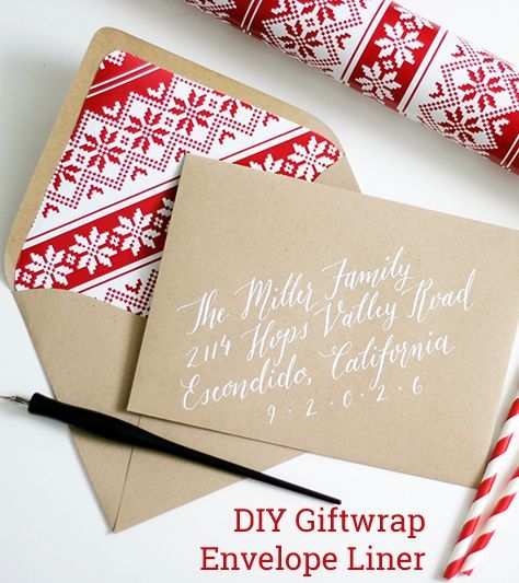 DIY holiday gift wrap envelope liner with calligraphy // The Lettered Bride by Ashley Lurcott Calligraphy & Illustration #Arts Design