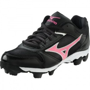 Kids Mizuno Franchise G4 Softball Cleats Black Leather - ONLY $34.99