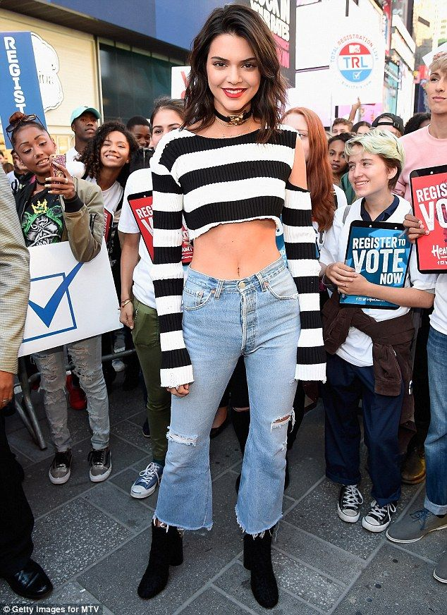 Spreading the word: Kendall took to New York's iconic Times Square to spread the word about National Voter Registration Day