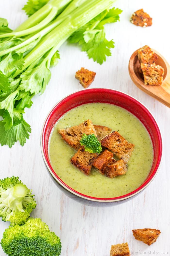 Creamy Broccoli & Celery Soup - Hearty vitamin packed broccoli & celery soup that will help you stay healthy! Only 3 main ingredients – broccoli, celery and onion. Vegetarian | happyfoodstube.com