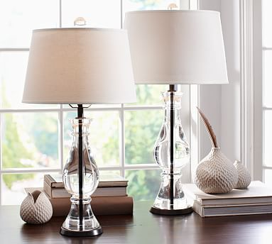 "Thick curves of crystal and a sturdy iron center distinguish our Marston Lamp Bases. Small Table Lamp: 5"" diameter, 24.5"" high Large Table Lamp: 6"" diameter, 28"" high Crafted of K9 crystal and iron. Pair with our small (Small Table Lamp) or medium (Large Table Lamp) Mix & Match® shades (sold separately). Dimmer switch on socket; plug-in. UL-listed."