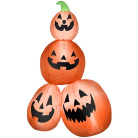gemmy inflatable airblown pumpkin stack outdoor halloween decoration with led white lights