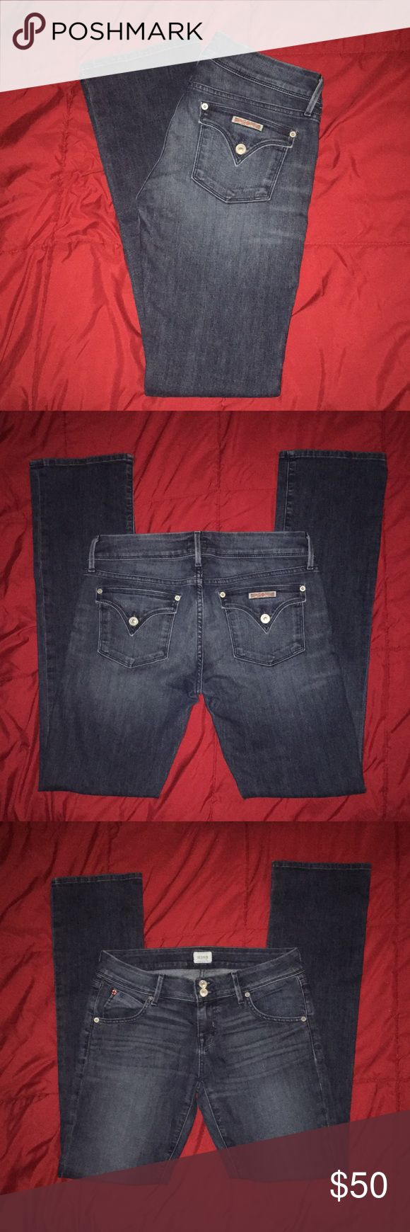 Hudson Signature Bootcut Jeans Super comfy Hudson Signature Bootcut Jeans.  Size 28.  Made of 88% cotton/10% polyester/2% spandex.  Please see pic of The tiny nitch in crotch (hardly a hole). Jean price has been adjusted because of this. These jeans have not been worn and that small flaw came with purchase. Hudson Jeans Jeans Boot Cut