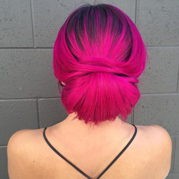 Bright Magenta Hair With Black Roots