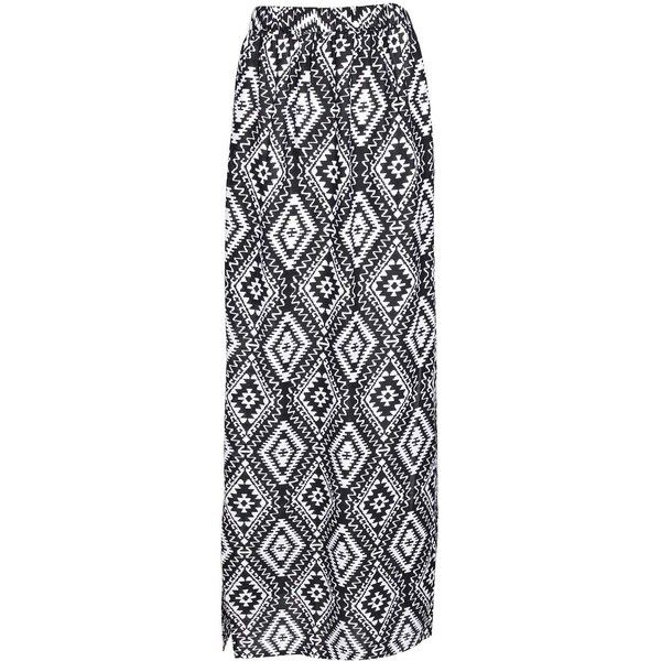 Boohoo Maddy Monochrome Aztec Maxi Skirt ($20) ❤ liked on Polyvore featuring skirts, bottoms, maxi skirts, saias, aztec maxi skirt, rayon skirt, rayon maxi skirt, aztec skirt and long rayon skirt