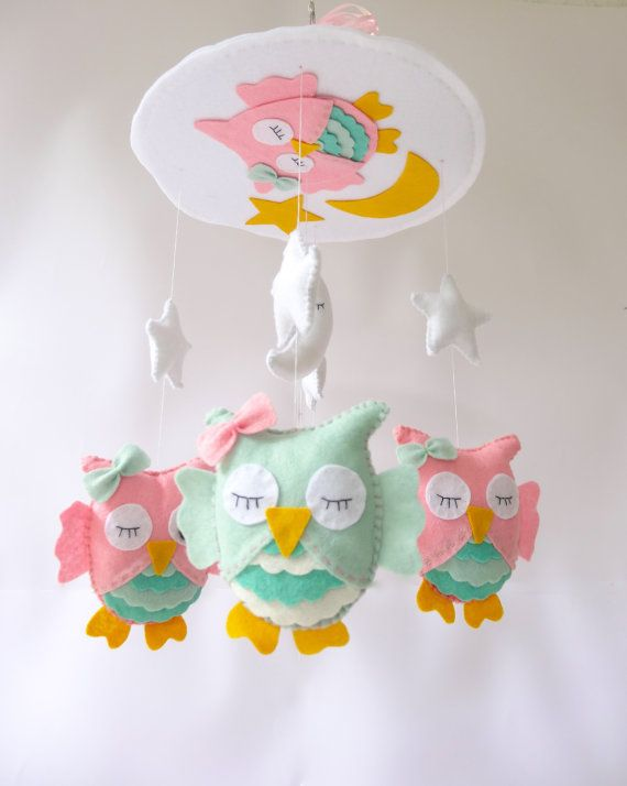 """Owl nursery mobile - Baby Crib Mobile - Unique Crib Mobile - Custom colors - Pink and Mint Owl Mobile """"Sleeping Owls"""""""