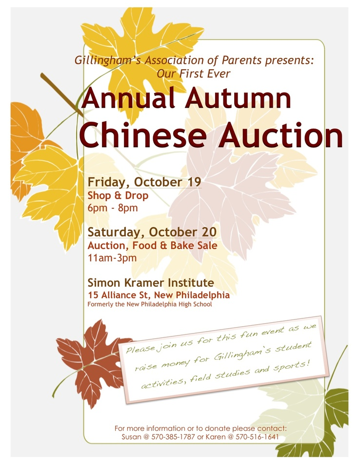 nice auction event flyer example gillingham charter school chinese auction flyer fundraising. Black Bedroom Furniture Sets. Home Design Ideas