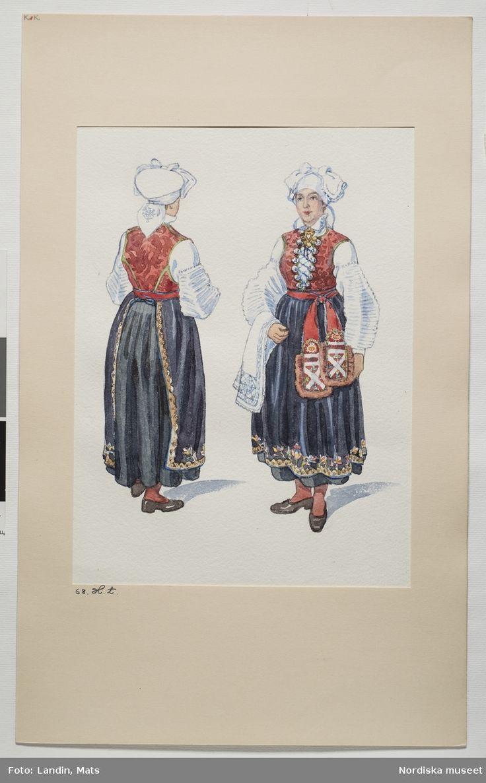 Festdräkt för gift kvinna. Värend, Småland. Akvarell av Emelie von Walterstorff. (E.v.Walterstorff). @ DigitaltMuseum.se