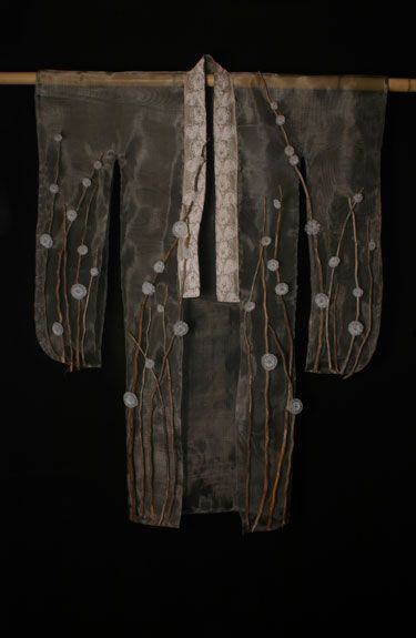 """""""Fuyu"""" kimono by Tanya Lyons: flame-worked glass, monel mesh, recycled lace, cedar branches"""