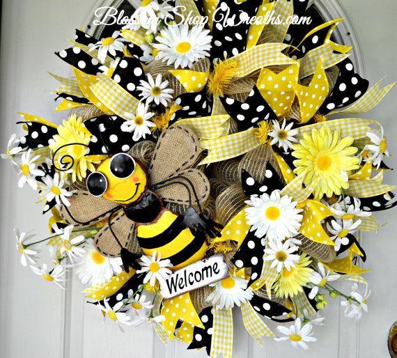 Deco Mesh Wreath Summer Front Door Bumble Bee Yellow