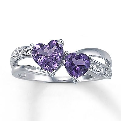Kays Amethyst Heart Ring With Diamond Accents Sterling Silver... would be cute if the big heart was Mom's birthstone & little heart was babie's