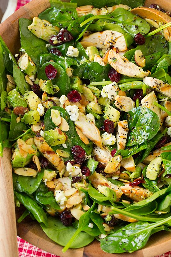 Cranberry Avocado Spinach Salad with Chicken and Orange Poppy Seed Dressing - one of my new favorite salads! Such DELICIOUS flavor!!