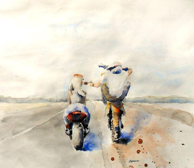 #watercolor, #girl, #sportbike, #moto, #love #motorcycle, #enduro, #sport, #icecream, #handpainting