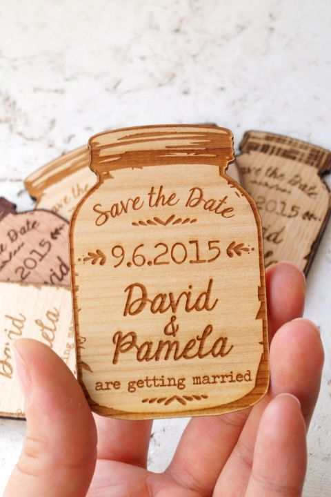 Set the scene for your country wedding by sending out these adorable Mason jar-inspired save the date magnets.