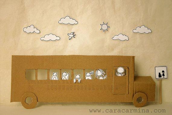 School bus  Photo print  Paper diorama par Caracarmina sur Etsy, $20.00