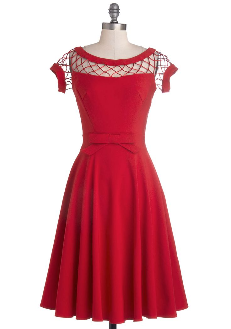 With Only a Wink Dress in Ruby, #ModCloth
