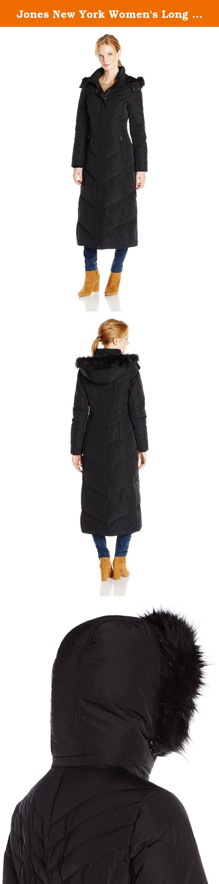 Jones New York Women's Long Maxi Down Coat, Black, Medium. This plus size long maxi down coat by jones New York is perfect for those cold winter days. Long enough to withstand the elements.