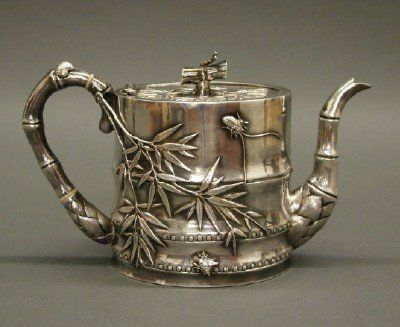 Chinese Export Silver teapot by Wang Hing in a bamboo motif with applied insects - Canton, c1900