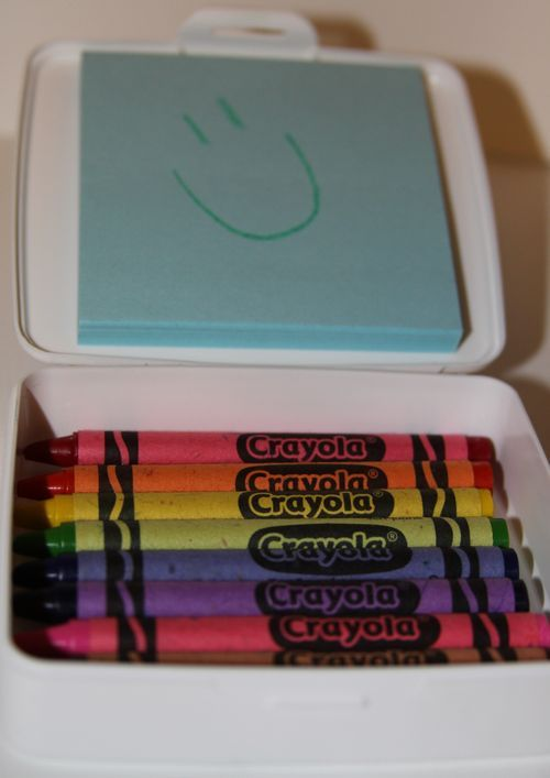 On the go Crayon Box - soap box, post it, and crayons! I already keep crayons in my purse----this would be so much better!