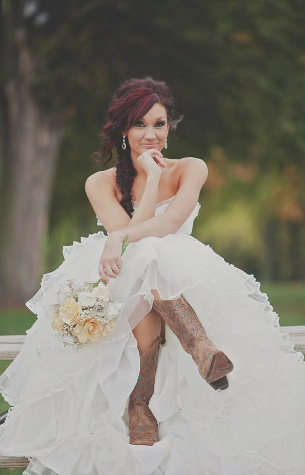 wedding gowns with cowboy boots  Wedding dress with