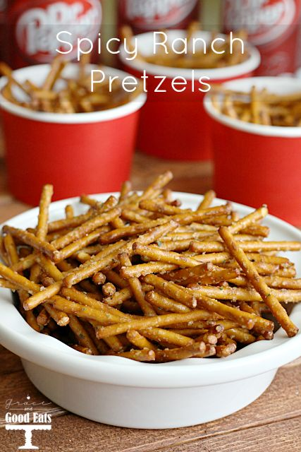 Spicy Ranch Pretzels- a super easy, no bake treat. A Game Day MUST!